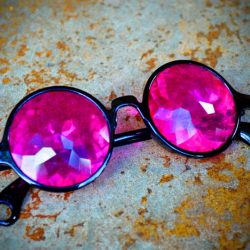 GloFX Black Kaleidoscope Glasses- Magenta