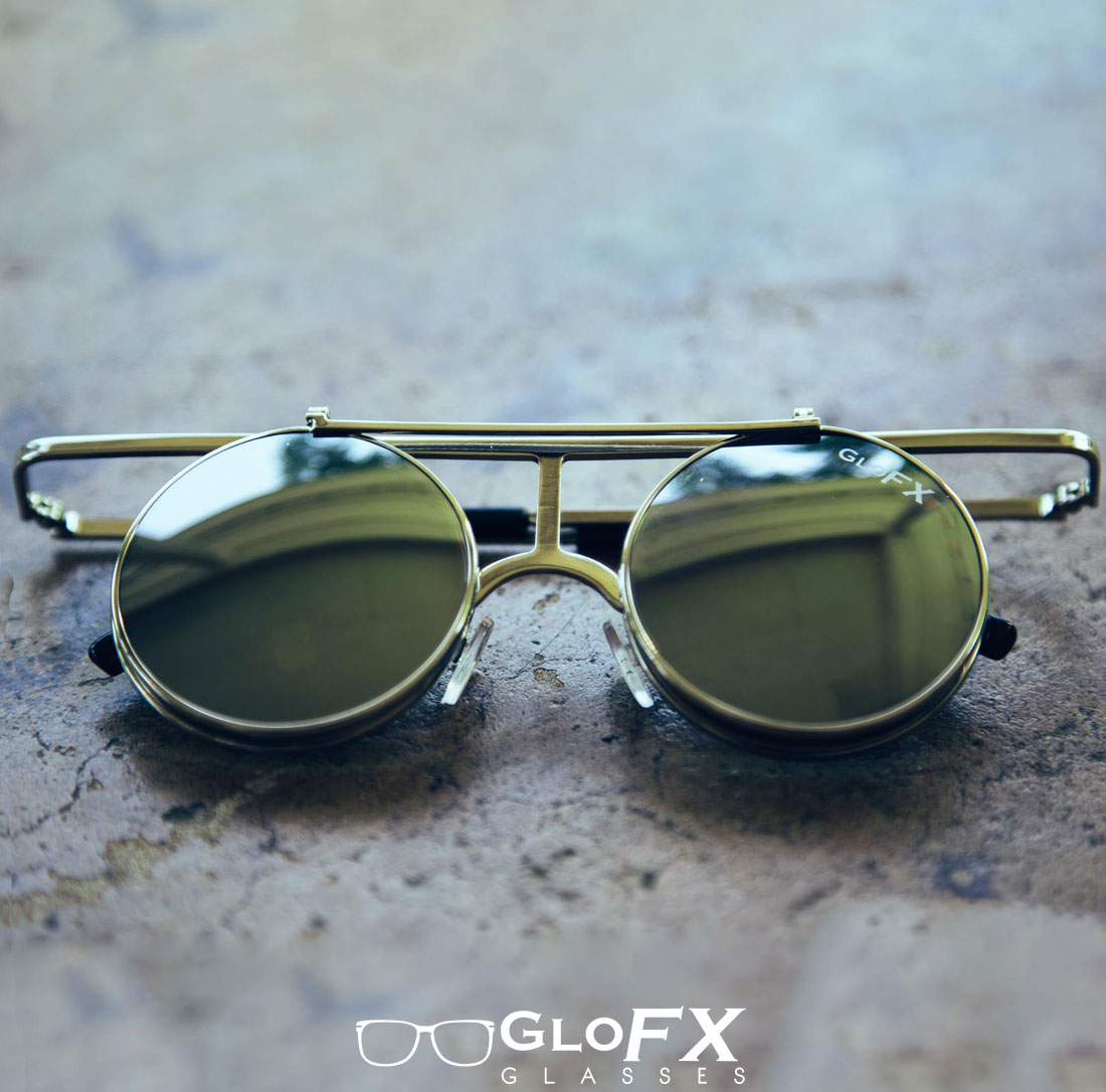 Vintage Round Diffraction Glasses Outside