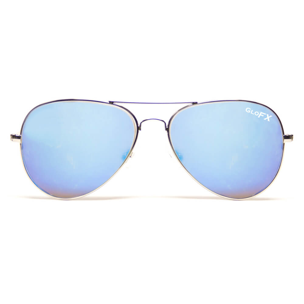 GloFX Metal Pilot Aviator Style Diffraction Glasses – Blue Mirror