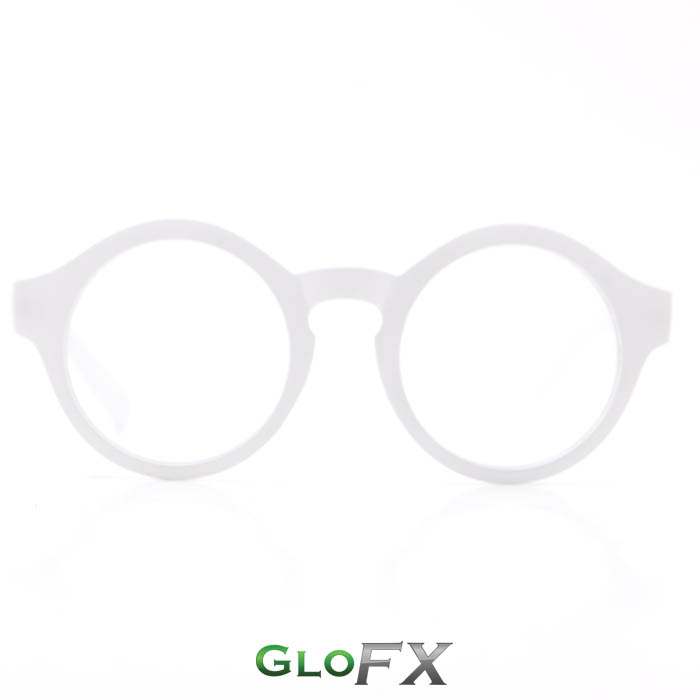 GloFX Round White Diffraction Glasses