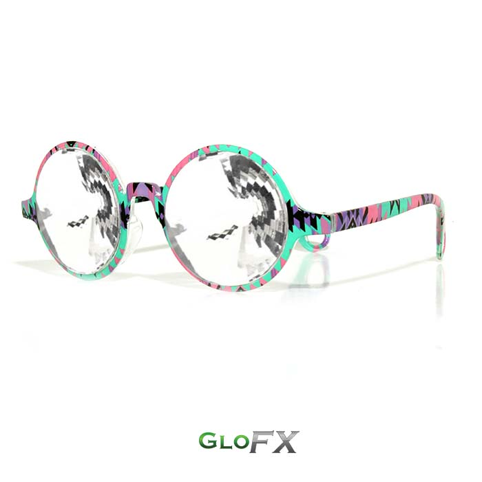 GloFX-Aztec-Kaleidoscope Glasses-Clear Wormhole3