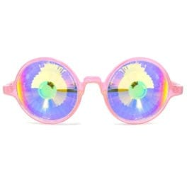 GloFX Transparent Pink Kaleidoscope Glasses - Rainbow Wormhole
