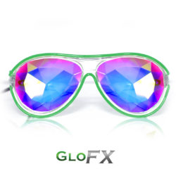 GloFX Customizable Aviator Kaleidoscope Luminescence Glasses Green-2