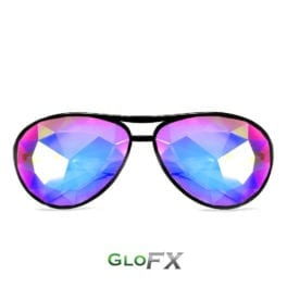 GloFX_Aviator Style Kaleidoscope Rave Glasses Black