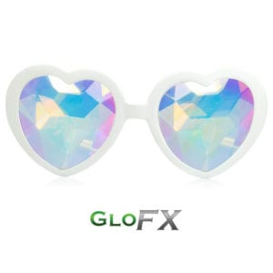 Heart Shaped Kaleidoscope Feature White