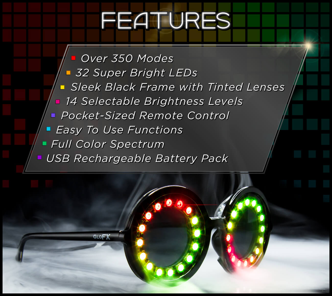 GloFX Pixel Pro LED Glasses Admat Features