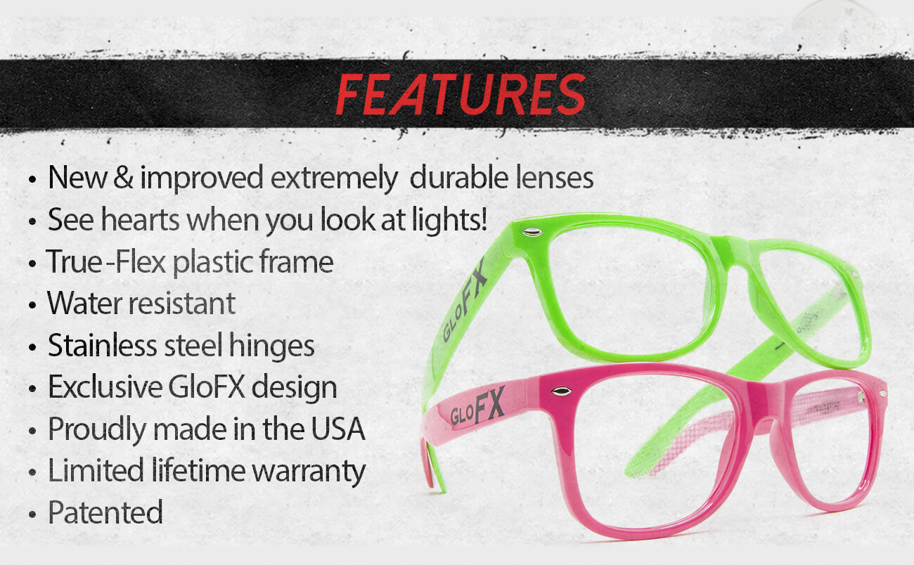 GloFX Heart Effect Diffraction Glasses - Features
