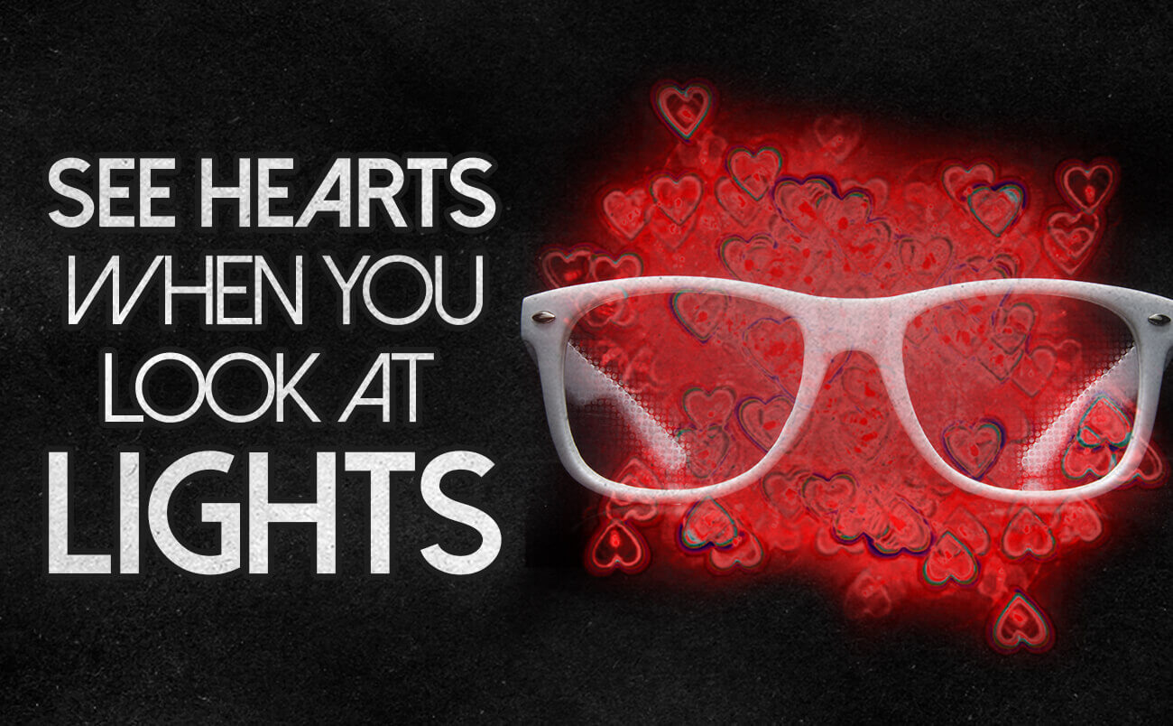 GloFX Heart Effect Diffraction Glasses - See Hearts