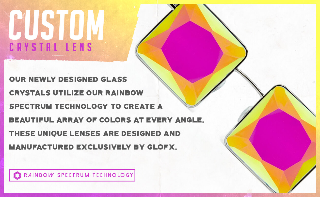 GloFX MC Squared Kaleidoscope Glasses Admat Custom Lenses